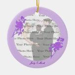Ornamento redondo de encargo de la flor púrpura ornamento para arbol de navidad
