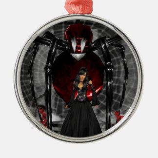 Ornamento redondo de la araña negra del gótico adorno redondo plateado
