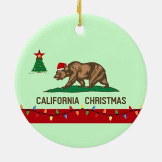 Ornamento redondo de la bandera del navidad de Cal Ornatos