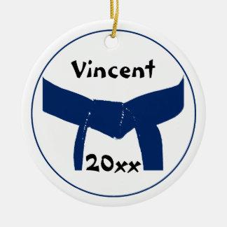 Ornamento redondo de la correa azul marino de enca ornamento para arbol de navidad