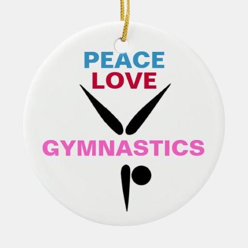 Ornamento redondo de la gimnasia del amor de la adorno navideño redondo de cerámica
