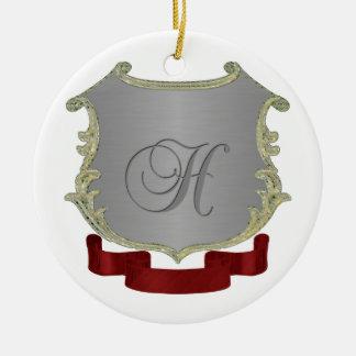 Ornamento redondo de la letra H del monograma del Adorno Navideño Redondo De Cerámica