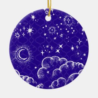 """Ornamento redondo de la """"luna y de las estrellas"""" adorno navideño redondo de cerámica"""