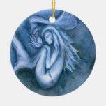 Ornamento redondo de la sirena el dormir y de la adorno para reyes