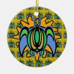 Ornamento redondo de la tortuga del amanecer ornamentos de reyes magos