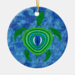 Ornamento redondo de la tortuga del ojo verde adornos de navidad