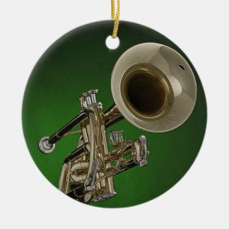 Ornamento redondo de la trompeta adorno navideño redondo de cerámica