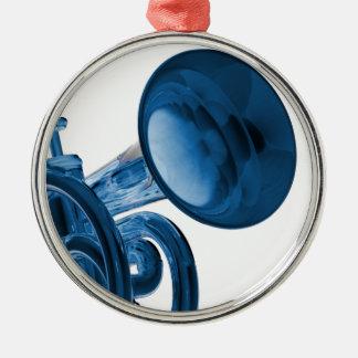 Ornamento redondo de la trompeta adorno navideño redondo de metal