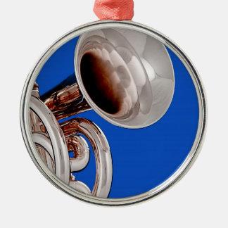 Ornamento redondo de la trompeta ornamentos de navidad