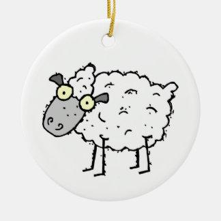 Ornamento redondo de las ovejas divertidas adornos de navidad