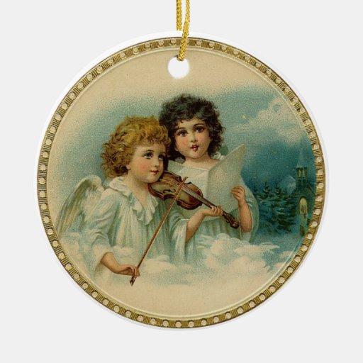 Ornamento redondo de los ángeles del vintage ornato