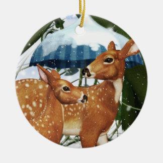 Ornamento redondo de los ciervos alemanes de adornos de navidad