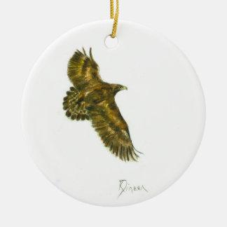 Ornamento redondo de oro de Eagle Adorno Navideño Redondo De Cerámica