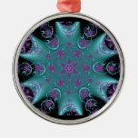 Ornamento redondo de plata #5 del caleidoscopio ornamento para arbol de navidad
