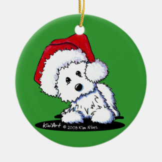 Ornamento redondo de Westie Terrier Santa Adorno De Reyes