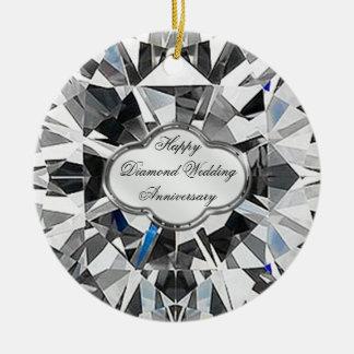 Ornamento redondo del aniversario de boda de diama ornamentos de navidad