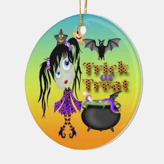 Ornamento redondo del chica del espíritu necrófago adornos