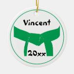Ornamento redondo del cinturón verde de encargo de adornos de navidad