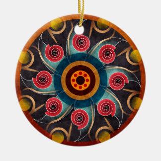 Ornamento redondo del color del extracto del arte adorno navideño redondo de cerámica