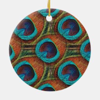 Ornamento redondo del diseño de la pluma del pavo ornamentos de reyes magos