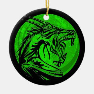 Ornamento redondo del dragón negro verde del adorno navideño redondo de cerámica