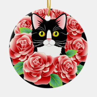 Ornamento redondo del gatito color de rosa lindo adorno navideño redondo de cerámica