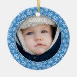 Ornamento redondo del marco de la foto del navidad adorno para reyes