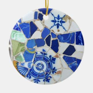 Ornamento redondo del mosaico de Gaudi Adorno Navideño Redondo De Cerámica