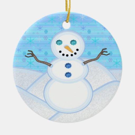 Ornamento redondo del muñeco de nieve adorno de reyes