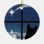 Ornamento redondo del navidad de la noche silencio ornamentos de navidad