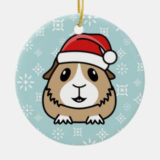 Ornamento redondo del navidad del conejillo de adorno navideño redondo de cerámica