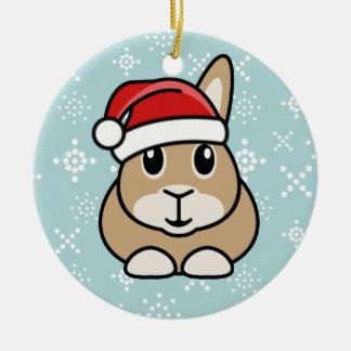 Ornamento redondo del navidad del conejo del adorno navideño redondo de cerámica
