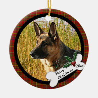 Ornamento redondo del navidad del pastor alemán adorno de reyes