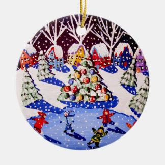 Ornamento redondo del navidad del patín de hielo ornatos