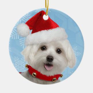 Ornamento redondo del navidad del perrito maltés adorno para reyes