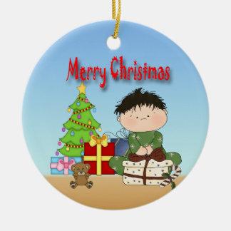 Ornamento redondo del niño pequeño del navidad adorno redondo de cerámica