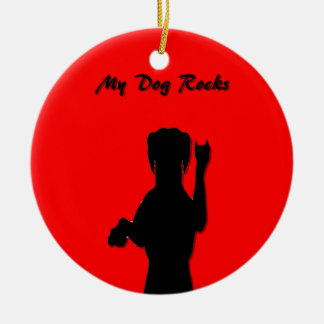 Ornamento redondo del perro de Rockin Adorno De Reyes