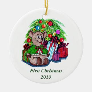 Ornamento redondo del primer navidad ornamentos de reyes