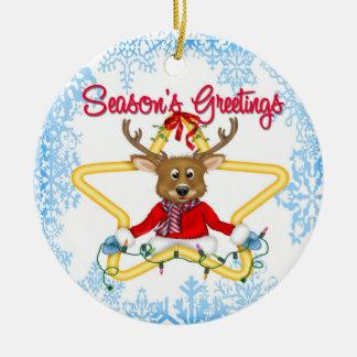 Ornamento redondo del reno de los saludos de la es ornaments para arbol de navidad