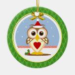 Ornamento redondo feliz de Yule del búho Adorno Para Reyes