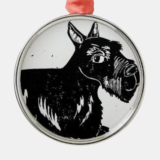 Ornamento redondo superior del perro del escocés ornamente de reyes