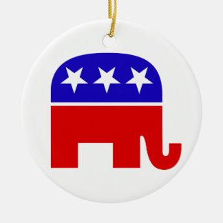 Ornamento republicano del elefante adorno navideño redondo de cerámica