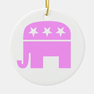 Ornamento republicano del navidad del elefante adorno redondo de cerámica