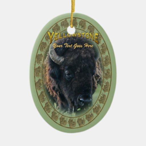 Ornamento: Retrato del bisonte (oval) Adorno Ovalado De Cerámica