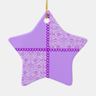 Ornamento retro de la estrella de la lavanda del adorno navideño de cerámica en forma de estrella