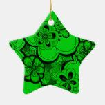 Ornamento retro de la estrella del verde esmeralda adorno para reyes