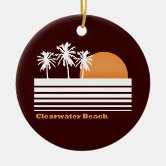 Ornamento retro de la playa de Clearwater Adorno Navideño Redondo De Cerámica