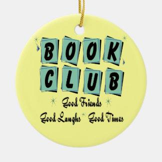 Ornamento retro del círculo de lectores - buenos adorno navideño redondo de cerámica