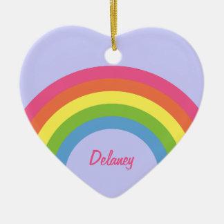 ornamento retro del corazón del arco iris de los adorno navideño de cerámica en forma de corazón