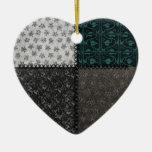 Ornamento retro del corazón del negro del remiendo ornamentos de reyes